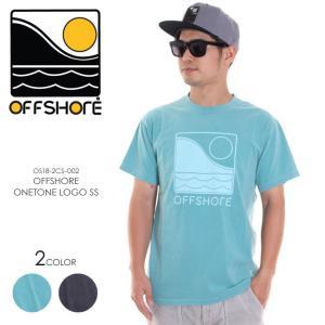 OFFSHORE Tシャツ メンズ OFFSHORE ONETONE LOGO S/S OS18-2CS-002 2018夏 グレー/グリーン S/M/L|3direct