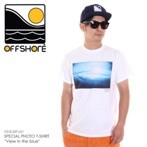 OFFSHORE Tシャツ メンズ SPECIAL PHOTO T-SHIRT VIEW IN THE BLUE OS18-2SP-US1 2018夏 ホワイト S/M|3direct