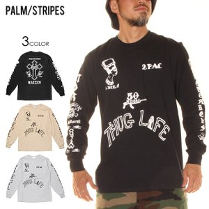 PALM/STRIPES パームストライプス ロンT ユニセックス AMARU SHAKUR TATOO TEE|3direct