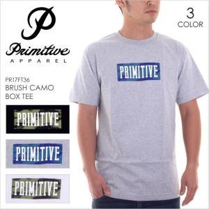 Tシャツ メンズ PRIMITIVE BRUSH CAMO BOX TEE - PR17FT36 プリミティブ ロゴ ボックスロゴ カモフラージュ 柄 プリント シンプル ストリート スケート 半袖 17|3direct