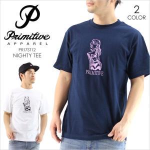 Tシャツ メンズ PRIMITIVE NIGHTY TEE - PR17ST12 プリミティブ Tシャツ イラスト プリント ネイビー ホワイト シンプル ストリート スケート 半袖 17 2017 春 3direct
