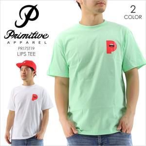 Tシャツ メンズ PRIMITIVE LIPS TEE - PR17ST19 プリミティブ Tシャツ ロゴ イラスト プリント グリーン ホワイト シンプル ストリート スケート 半袖 17 2017 3direct