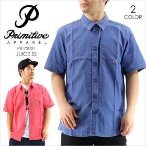 シャツ メンズ PRIMITIVE JUICE S/S - PR17SU27 プリミティブ シャツ 半袖シャツ ポケット イラスト ロゴ 刺繍 シンプル ピンク ネイビー ストリート スケート|3direct