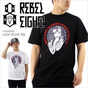 Tシャツ メンズ REBEL8 LADY EIGHT TEE - 110010055 レベルエイト レベル8 ロゴ イラスト ブラック ホワイト ストリート スケート 半袖 S/S 2017 17 春 新作 日|3direct