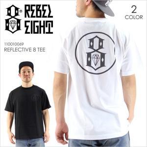 Tシャツ メンズ REBEL8 REFLECTIVE 8 TEE - 110010069 レベルエイト レベル8 ストリート スケート ロゴ プリント リフレクティブ ブラック ホワイト シンプル 半|3direct