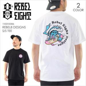 Tシャツ メンズ REBEL8 DESIGNS S/S TEE - 110010086 レベルエイト レベル8 ロゴ イラスト プリント ポップ ブラック ホワイト ストリート スケート 半袖 S/S 20|3direct