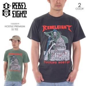 REBEL8 Tシャツ メンズ HOSTILE PREMIUM S/S TEE 110020019 2018春 ブラック/グリーン M/L|3direct