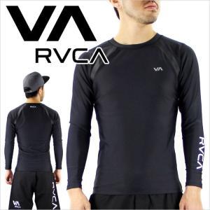 コンプレッション メンズ RVCA COMPRESSION L/S - AG042-850 - AG042850 ルーカ ロゴ プリント インナー トレーニングウェア フィットネス ジムウェア ブラック|3direct
