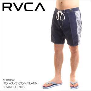 サーフパンツ メンズ RVCA NO WAVE COMPILATION BOARD SHORTS - AH041-P50- AH041P50 ルーカ ロゴ シンプル ギンガムチェック 柄 ネイビー サーフ スケート スト|3direct