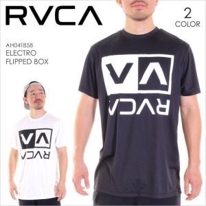 ラッシュガード 半袖 メンズ RVCA ELECTRIC FLIPPED BOX - AH041-858 - AH041858 RVCA ルーカ ルカ サーフTシャツ Tシャツ ロゴ 水着 3direct