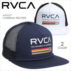 キャップ メンズ RVCA CASERMA TRUCKER - AH041-917 - AH041917 ルーカ スナップバックキャップ メッシュ ロゴ プリント ネイビー ホワイト サーフ スケート ス|3direct