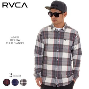 RVCA ルーカ メンズ ネルシャツ LUDLOW PLAID FLANNEL AI042101 AI042-101 2018秋冬 ネイビー/グレー/ブラウン S/M/L|3direct