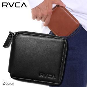 RVCA ルーカ 財布 メンズ ZIP AROUND WALLET AI042-996 2018秋冬 ブラック/ブラウン ワンサイズ|3direct