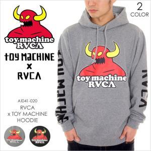 RVCA x TOY MACHINE パーカー メンズ TOY MACHINE x RVCA HOODIE AI041020 AI041-020 2018年春 グレー/ブラック S/M/L|3direct