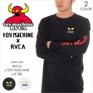 RVCA x TOY MACHINE ロンT メンズ TOY MACHINE x RVCA L/S TEE AI041050 AI041-050 2018年春 ブラック/ホワイト S/M/L|3direct