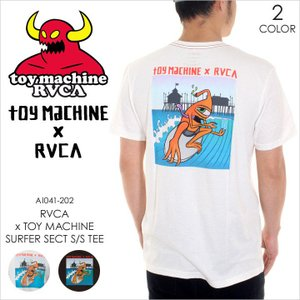 RVCA x TOY MACHINE Tシャツ メンズ TOY MACHINE x RVCA SURFER SECT S/S TEE AI041202 AI041-202 2018年春 ホワイト/ブラック S/M/L|3direct