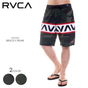 RVCA サーフパンツ メンズ BRUCE II TRUNK AI041-506 2018春 ブラック/グリーン 28/30/32/34|3direct