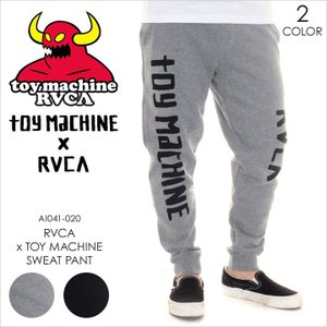 RVCA x TOY MACHINE スウェットパンツ メンズ TOY MACHINE x RVCA SWEAT PANT AI041720 AI041-720 2018年春 グレー/ブラック XS/S/M/L|3direct