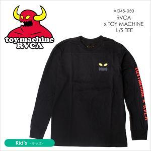 RVCA x TOY MACHINE Tシャツ キッズ RVCA x TOY MACHINE L/S TEE AI045050 AI045-050 2018年春 ブラック S/M/L 140cm/150cm/160cm|3direct