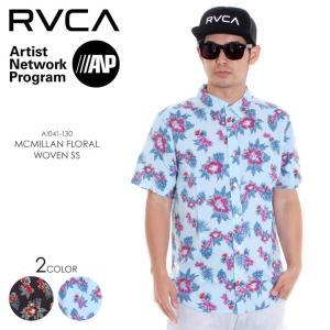 RVCA シャツ メンズ MCMILLAN FLORAL WOVEN S/S AI041-130 2018年春夏 ブラック/ブルー S/M|3direct