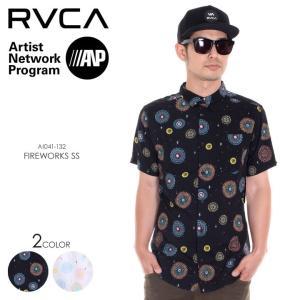 RVCA シャツ メンズ FIREWORKS S/S AI041-132 2018年春夏 ブラック/ホワイト S/M|3direct