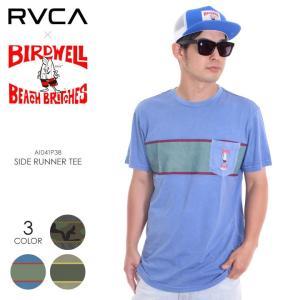 RVCA x BIRDWELL Tシャツ メンズ SIDE RUNNER TEE AI041-P38 2018夏 ブラック/オリーブ/ブルー S/M/L|3direct