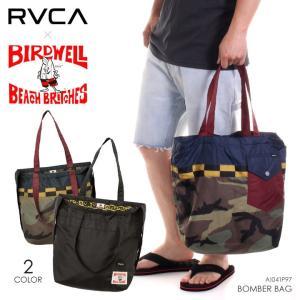 RVCA x BIRDWELL トートバッグ メンズ BOMBER BAG AI041-P97 2018夏 ブラック/カモ ワンサイズ|3direct