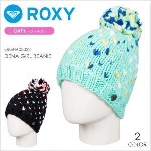 ROXY ビーニー キッズ DENA GIRL BEANIE 17-18 ERGHA03032 ブラック/ブルー フリーサイズ|3direct