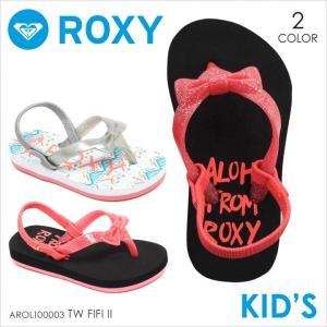 ビーチサンダル キッズ ROXY TW FIFI II - AROL100003 ロキシー サンダル ガールズ ロゴ リボン キラキラ ブラック ピンク ホワイト かわいい 女の子 靴 17 2017|3direct