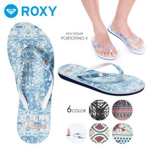 ROXY ビーチサンダル レディース PORTOFINO II ARJL100668 2018春 ブラック/ネイビー/ブルー/ホワイト 23cm/24cm/25cm|3direct