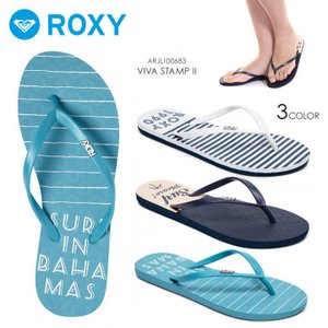 ROXY ビーチサンダル レディース VIVA STAMP II 2018春夏 ARJL100683 ブルー/ネイビー/ピンク/ホワイト 23cm/24cm/25cm|3direct