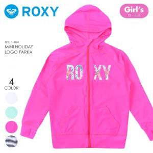 ROXY ラッシュガード ガールズ MINI HOLIDAY LOGO PARKA TLY181104 2018夏 ホワイト/ネイビー/グリーン/ピンク 100cm/110cm/120cm/130cm/140cm/150cm|3direct