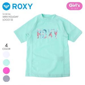 ROXY ラッシュガード ガールズ MINI HOLIDAY LOGO S/S TLY181106 2018夏 ホワイト/ネイビー/グリーン/ピンク 100cm/110cm/120cm/130cm/140cm/150cm|3direct
