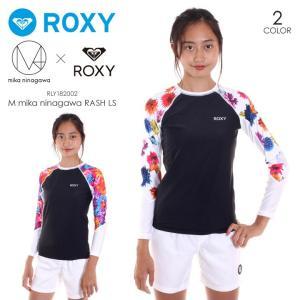 ROXY ラッシュガード レディース M / mika ninagawa RASH L/S - RLY182002 2018夏 オレンジ/ホワイト S/M/L|3direct