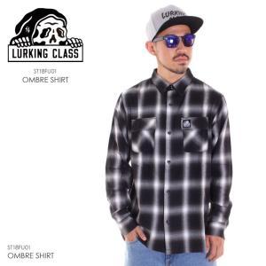LURKING CLASS ラーキングクラス シャツ メンズ OMBRE SHIRT ST18FU01 2018秋冬 ブラック M/L|3direct