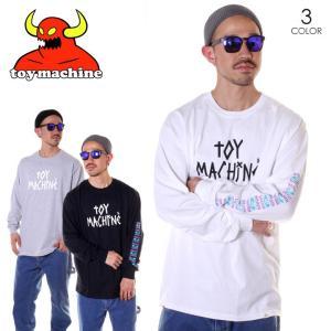 TOY MACHINE トイマシーン Tシャツ ロンT メンズ TAPE LOGO PT LT - TMP19LT3 2019春夏 ブラック/グレー/ホワイト M/L/XL|3direct