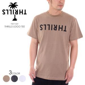 THRILLS Tシャツ メンズ LOGO TEE TW7-101F 2018春 ブラック/ホワイト/グリーン S/M|3direct