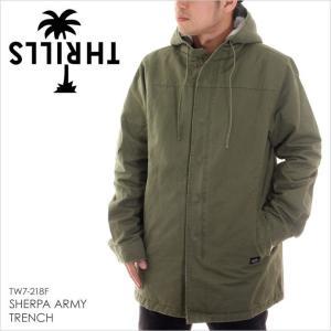 ジャケット メンズ THRILLS SHERPA ARMY TRENCH - TW7-218F スリルズ アウター ミリタリー シェルパ ボア サーフ|3direct