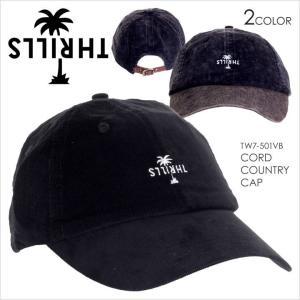 キャップ メンズ THRILLS CORD COUNTRY CAP - TW7-501 スリルズ サーフ ストリート ロゴ シンプル ワンポイント コーデュロイ 帽子 2017 17 F/W 秋冬 新作|3direct