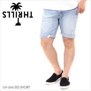ハーフパンツ メンズ THRILLS SID SHORT - TDP-304E スリルズ サーフ ストリート ショーツ  ロゴ パームツリー ブルー ダメージデニム デニム スキニー スリム|3direct