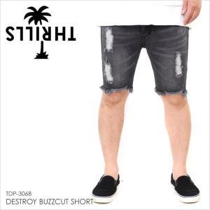 ハーフパンツ メンズ THRILLS DESTROY BUZZCUT SHORT - TDP-306B スリルズ サーフ ストリート ショーツ  ロゴ パームツリー ダメージデニム デニム ブラック ス|3direct
