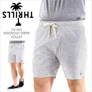 ハーフパンツ メンズ THRILLS INSIDEOUT STRIPE VOLLEY - TS6-304Z スリルズ サーフ ストリート ショーツ  ロゴ パームツリー シンプル ブラック ホワイト ボー|3direct