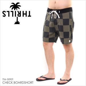 サーフパンツ メンズ THRILLS CHECK BOARDSHORT - TS6-309ZF スリルズ サーフ ストリート ロゴ パームツリー シンプル スイムウェア グリーン チェッカー 柄 短|3direct
