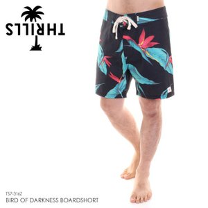 THRILLS ボードショーツ メンズ BIRD OF DARKNESS BOARDSHORT TS7-316Z 2018春夏 ブラック 28/30/32|3direct