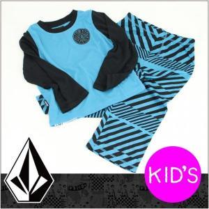 VOLCOM ボルコム パジャマ STRIPED PJ SET LITTLE YOUTH キッズ リトルユース / ルームウェア セットアップ ジュニア 子供|3direct