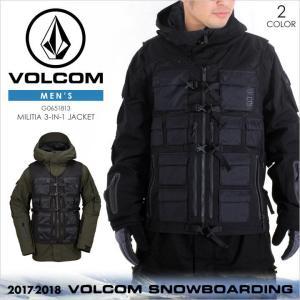 17-18 VOLCOM スノーウェア メンズ MILITIA 3-IN-1 JACKET 17-18 秋冬 G0651813 ブラック/グリーン XS/S/M/L/XL|3direct
