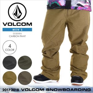 VOLCOM スノーウェア メンズ CARBON PANT 17-18 秋冬 G1351816 ブラック/グリーン/ブラウン/ベージュ XS/S/M/L/XL|3direct