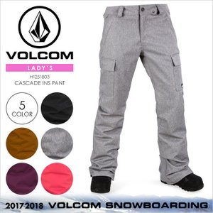 17-18 VOLCOM スノーウェア レディース CASCADE INS PANT 2017-2018 秋冬 H1251803 ブラック/ブラウン/グレー/パープル/ピンク|3direct
