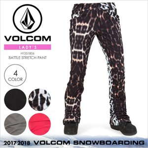 17-18 VOLCOM スノーウェア レディース BATTLE STRETCH PANT 2017-2018 秋冬 H1351806 ブラック/マルチ/グレー/ピンク|3direct