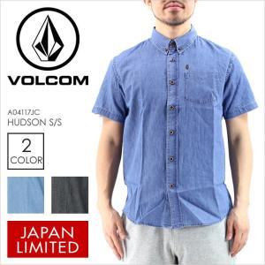 シャツ 半袖 メンズ VOLCOM HUDSON S/S - A04117JC VOLCOM ボルコム シャツ 半袖シャツ デニムシャツ デニム ロゴ ポケット ブラック ブルー 半袖 日本限定 17 2|3direct